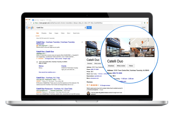 Google my business page displayed on computer